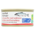 Calories in Essential Waitrose Wild Pacific Red Salmon Skinless and Boneless
