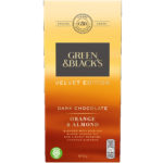 Calories in Green & Black's Velvet Edition Dark Chocolate Orange & Almond