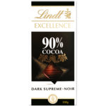 Calories in Lindt Excellence 90% Cocoa Dark Supreme Noir