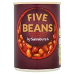 Calories in Sainsbury's Five Beans in Hot & Spicy Tomato Sauce