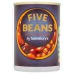 Calories in Sainsbury's Five Beans in Tasty Tomato Sauce