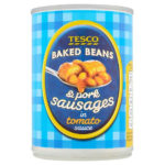 Calories in Tesco Baked Beans & Pork Sausages in Tomato Sauce