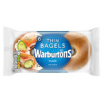 Calories in Warburtons Thin Bagels Plain Sliced