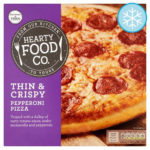 Calories in Hearty Food Co. Thin & Crispy Pepperoni Pizza