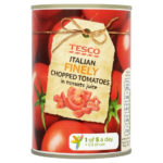 Calories in Tesco Italian Finely Chopped Tomatoes in Tomato Juice