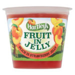 Calories in Hartley's Fruit in Jelly Peach in Strawberry Jelly