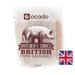 Calories in Ocado Butcher's Choice British Pork Sausages