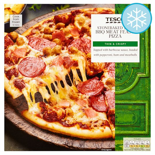 Calories In Tesco Stonebaked Thin Bbq Meat Feast Pizza