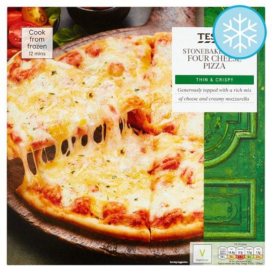 Calories In Tesco Stonebaked Thin Four Cheese Pizza Thin